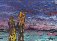 """"""" African Lovers """" - Huile 2016 - 33 x 26 cm"""